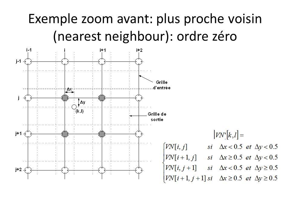 Exemple zoom avant: plus proche voisin (nearest neighbour): ordre zéro