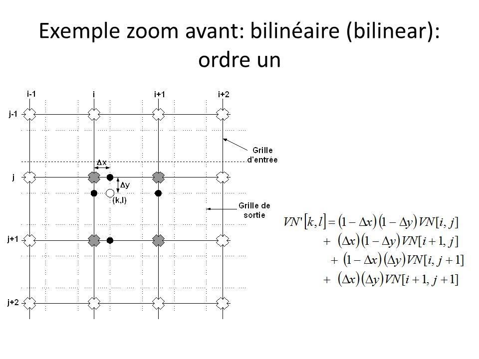 Exemple zoom avant: bilinéaire (bilinear): ordre un