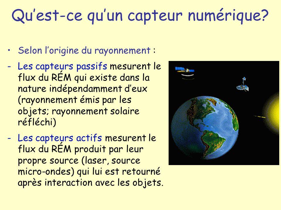 Selon lorigine du rayonnement : -Les capteurs passifs mesurent le flux du RÉM qui existe dans la nature indépendamment deux (rayonnement émis par les