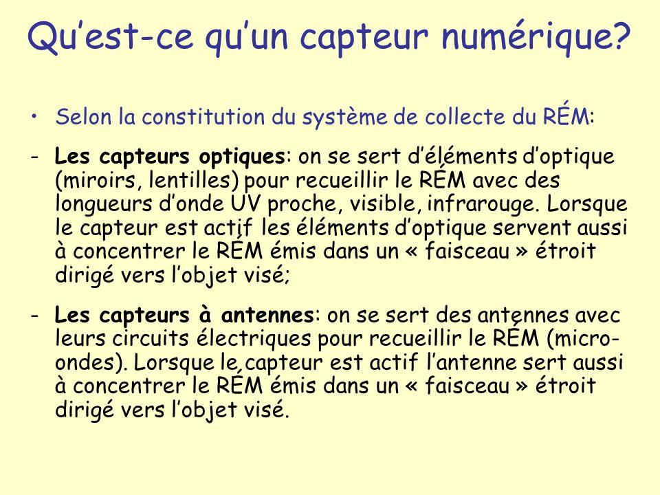 Selon la constitution du système de collecte du RÉM: -Les capteurs optiques: on se sert déléments doptique (miroirs, lentilles) pour recueillir le RÉM