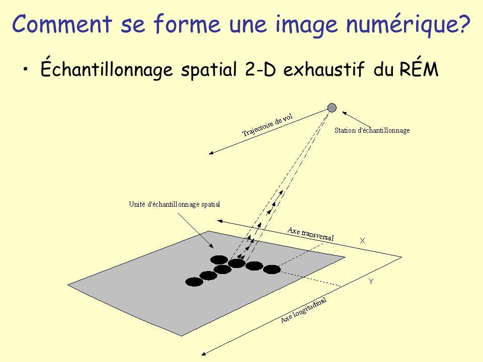 Comment se forme une image numérique? Échantillonnage spatial 2-D exhaustif du RÉM