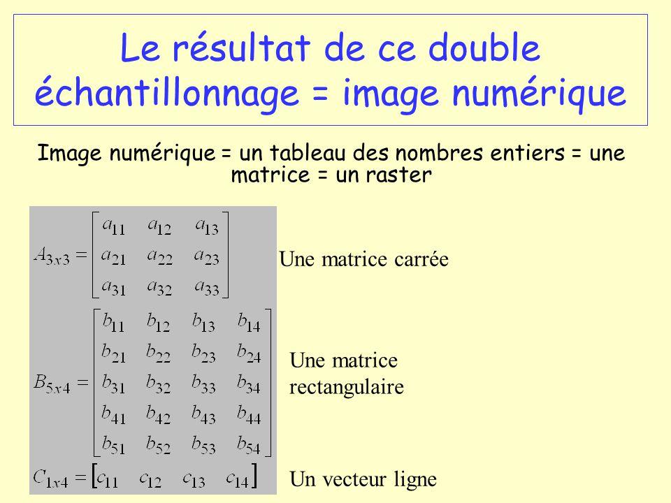 Le résultat de ce double échantillonnage = image numérique Image numérique = un tableau des nombres entiers = une matrice = un raster Une matrice carr