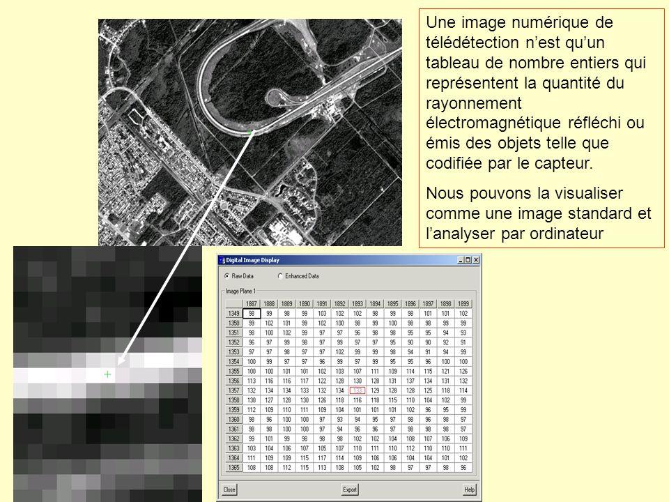 Une image numérique de télédétection nest quun tableau de nombre entiers qui représentent la quantité du rayonnement électromagnétique réfléchi ou émi