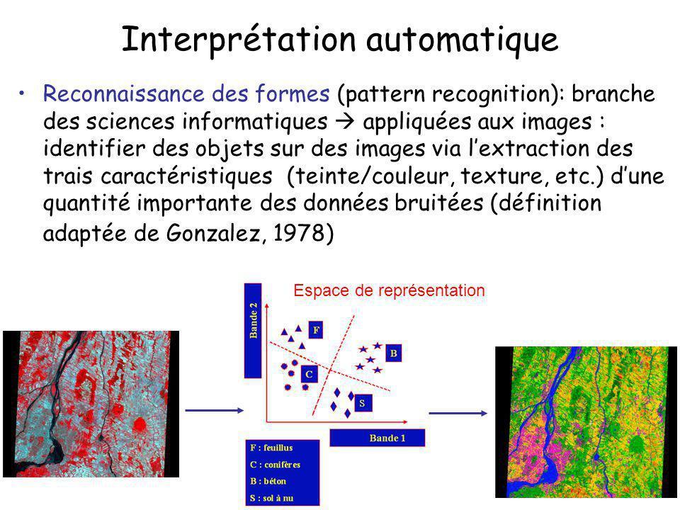 Interprétation automatique Intelligence artificielle: branche des sciences informatiques appliquées aux images : créer des machines capables de raisonner à la manière dun photo-interprète -Systèmes experts; systèmes à base de connaissances -Vision par ordinateur; systèmes de compréhension dimages; -Réseaux neuromimétiques; algorithmes génétiques, etc.