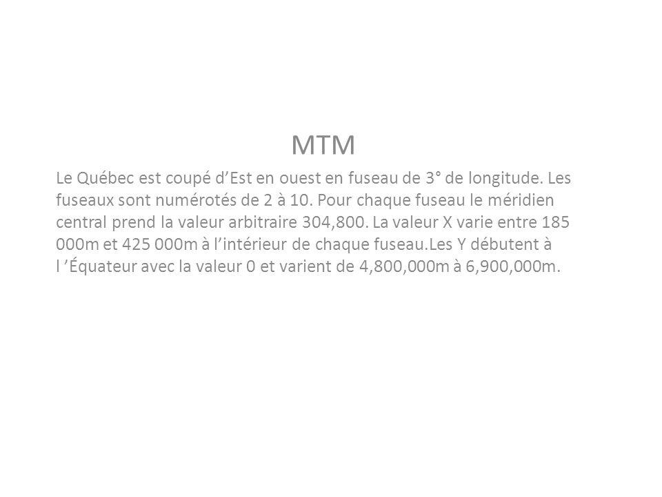 MTM Le Québec est coupé dEst en ouest en fuseau de 3° de longitude. Les fuseaux sont numérotés de 2 à 10. Pour chaque fuseau le méridien central prend