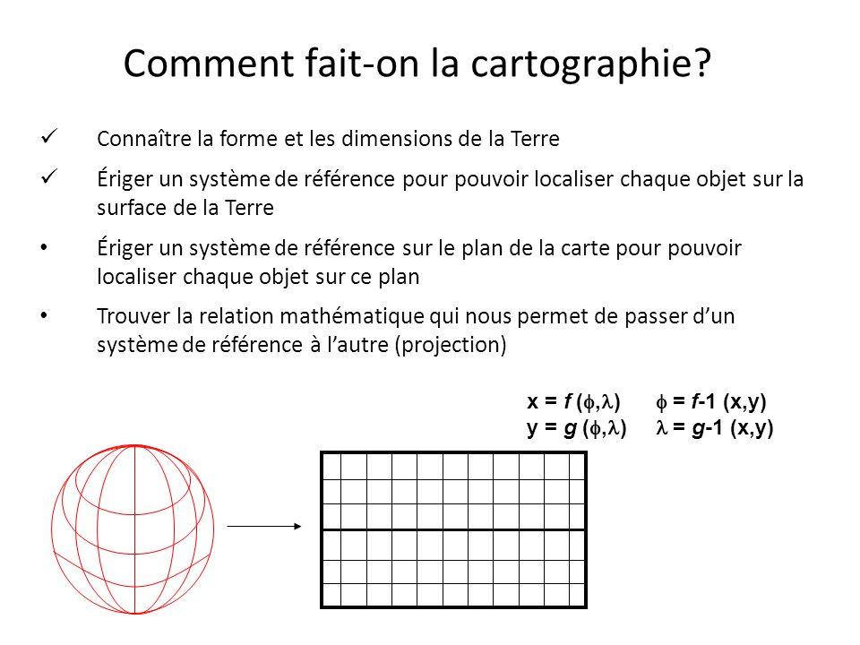 Comment fait-on la cartographie? Connaître la forme et les dimensions de la Terre Ériger un système de référence pour pouvoir localiser chaque objet s