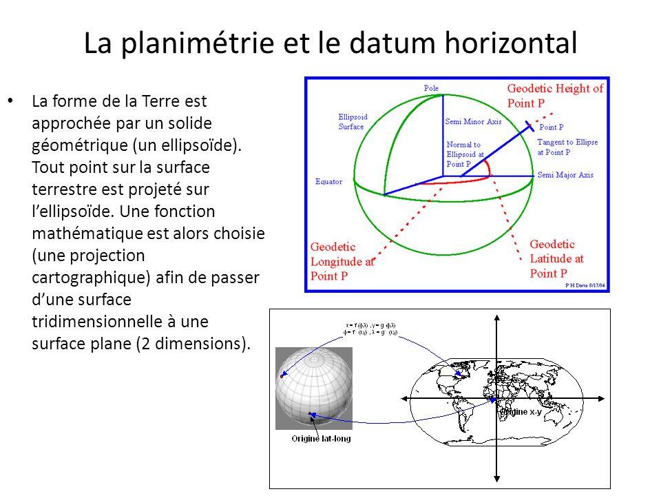 La planimétrie et le datum horizontal La forme de la Terre est approchée par un solide géométrique (un ellipsoïde). Tout point sur la surface terrestr