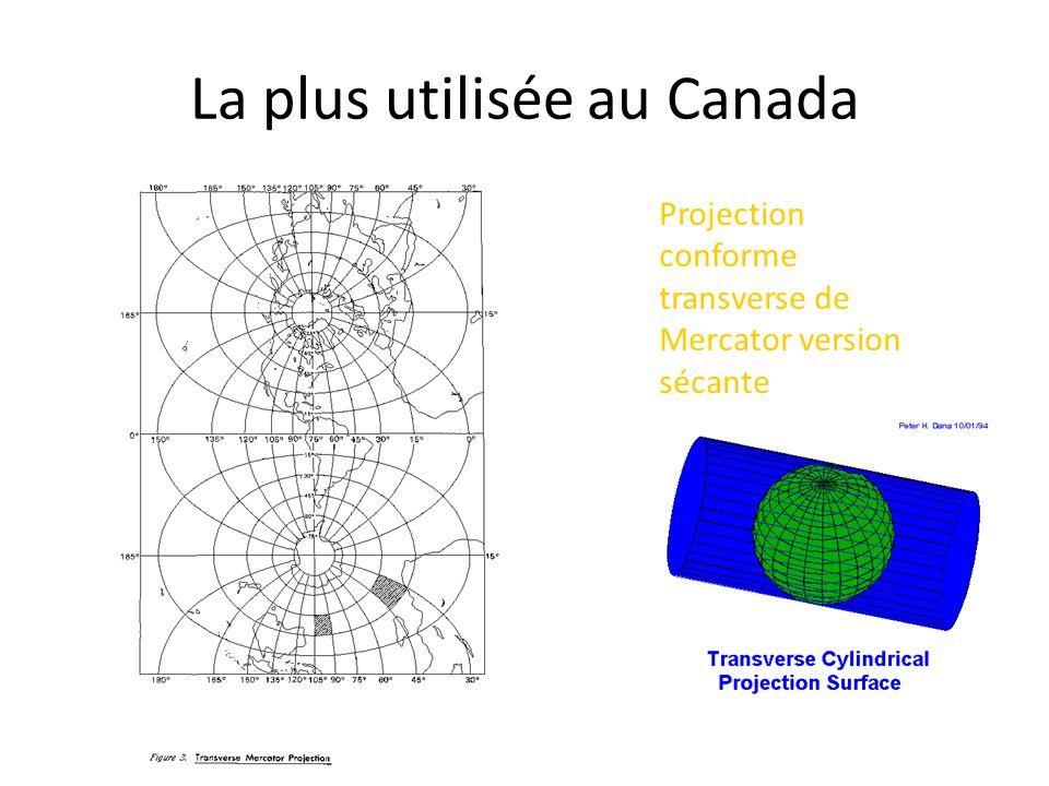 Projection conforme transverse de Mercator version sécante La plus utilisée au Canada