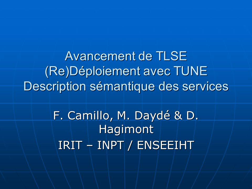 Avancement de TLSE (Re)Déploiement avec TUNE Description sémantique des services F. Camillo, M. Daydé & D. Hagimont IRIT – INPT / ENSEEIHT