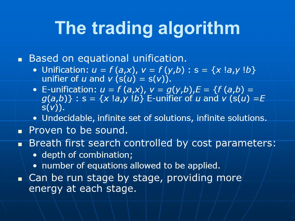 The trading algorithm Based on equational unification.