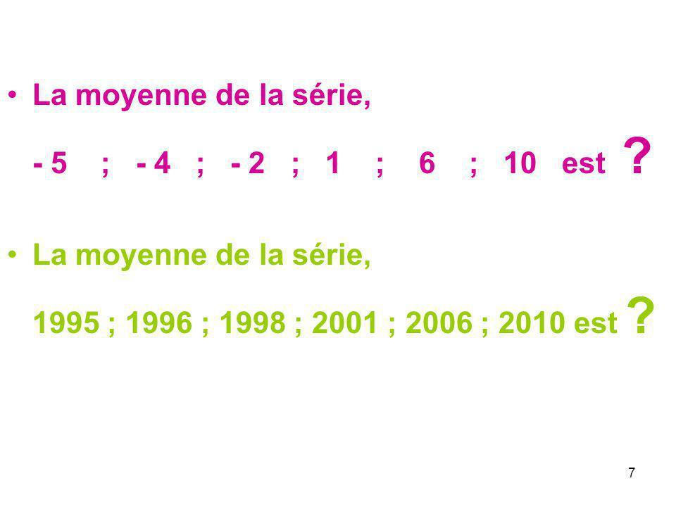 7 La moyenne de la série, - 5 ; - 4 ; - 2 ; 1 ; 6 ; 10 est ? La moyenne de la série, 1995 ; 1996 ; 1998 ; 2001 ; 2006 ; 2010 est ?