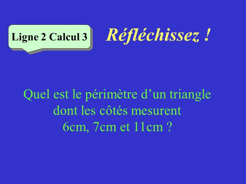 Réfléchissez ! Quel est le périmètre dun rectangle de longueur 9 cm et de largeur 5 cm ? Ligne 2 Calcul 2