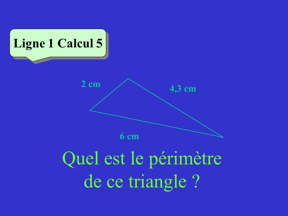 Quel est le périmètre de ce triangle ? Ligne 1 Calcul 5 4,3 cm 2 cm 6 cm