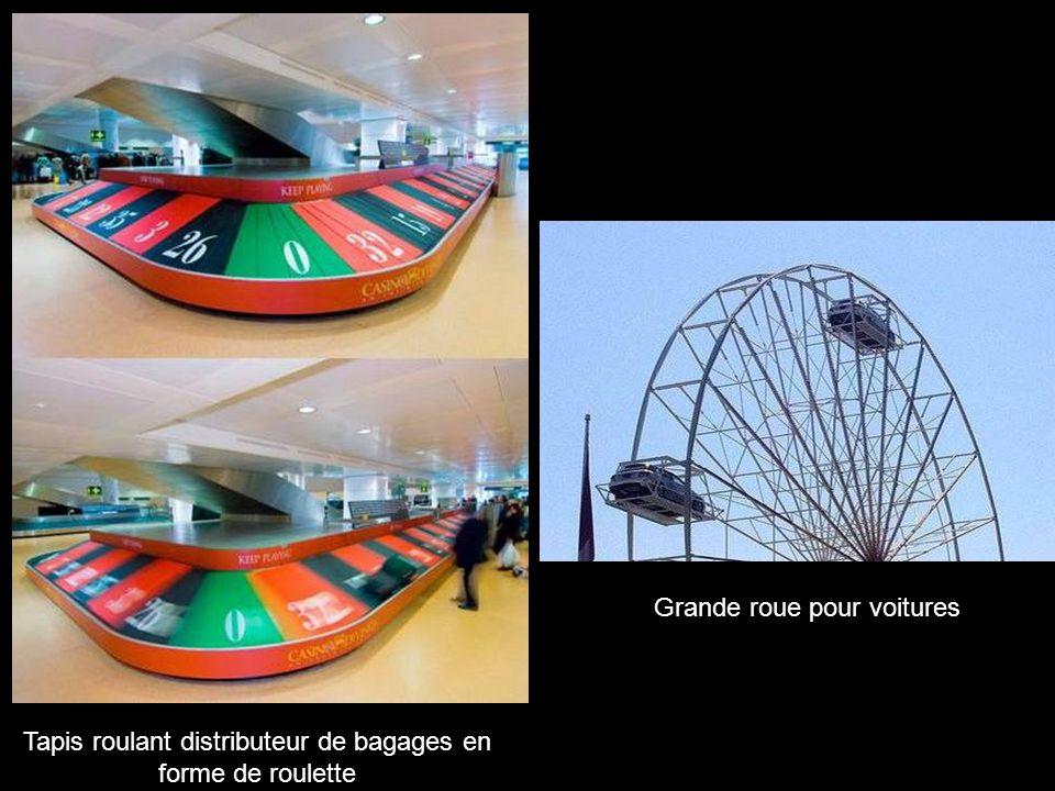 Grande roue pour voitures Tapis roulant distributeur de bagages en forme de roulette