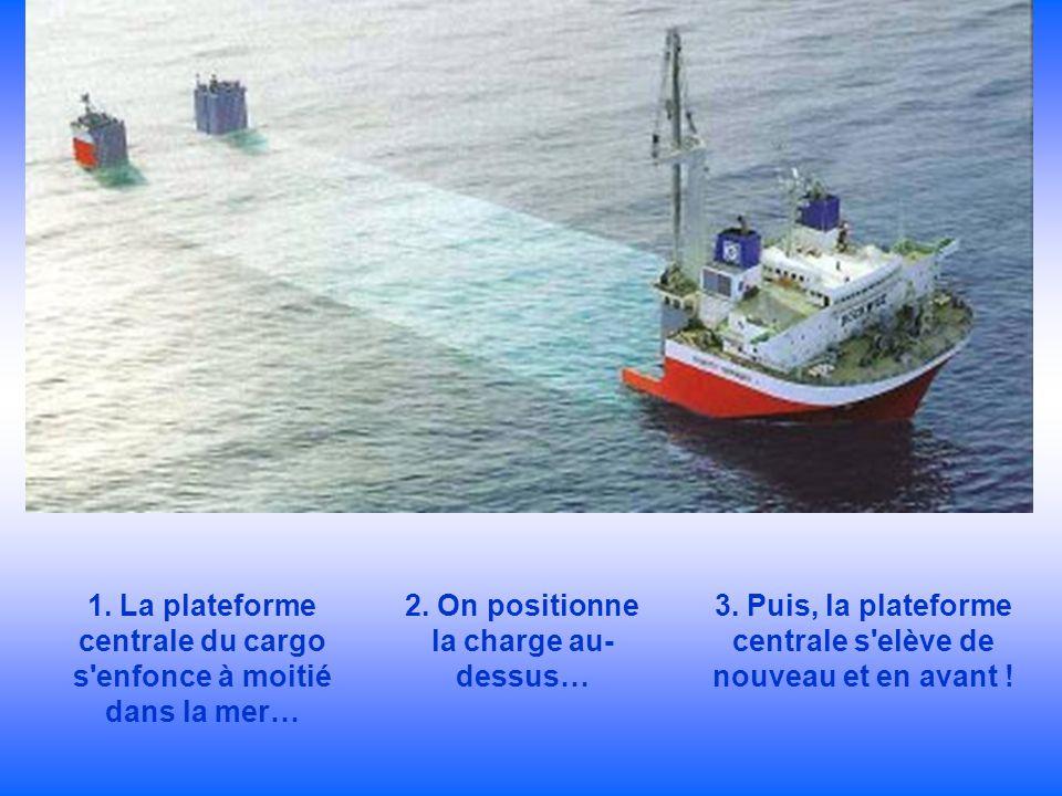 1. La plateforme centrale du cargo s'enfonce à moitié dans la mer… 2. On positionne la charge au- dessus… 3. Puis, la plateforme centrale s'elève de n