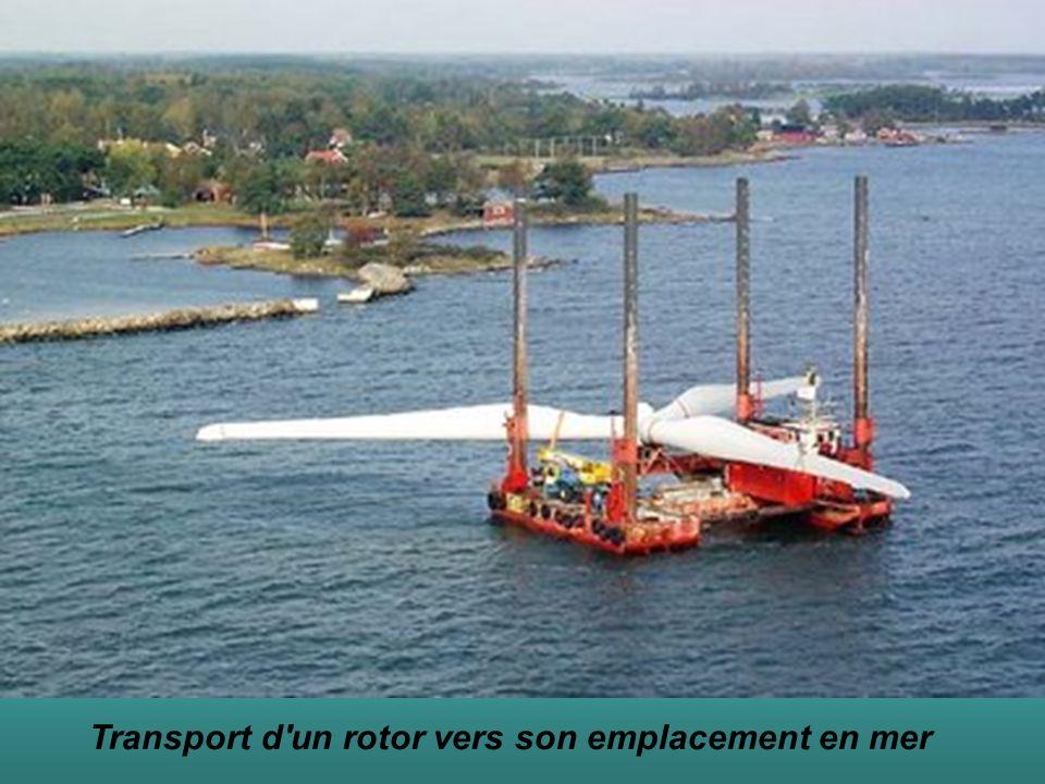 Transport d'un rotor vers son emplacement en mer