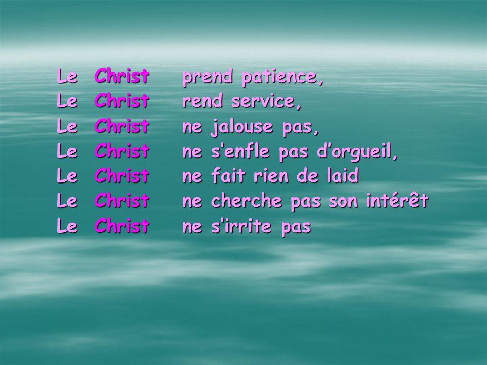 Phase 2 À chaque fois que vous lisez le mot «Amour » À chaque fois que vous lisez le mot «Amour » Remplacez le par le mot «Christ ». Remplacez le par