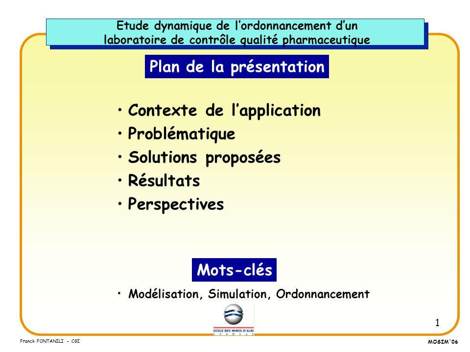 1 Franck FONTANILI - CGI MOSIM'06 Plan de la présentation Contexte de lapplication Problématique Solutions proposées Résultats Perspectives Modélisati