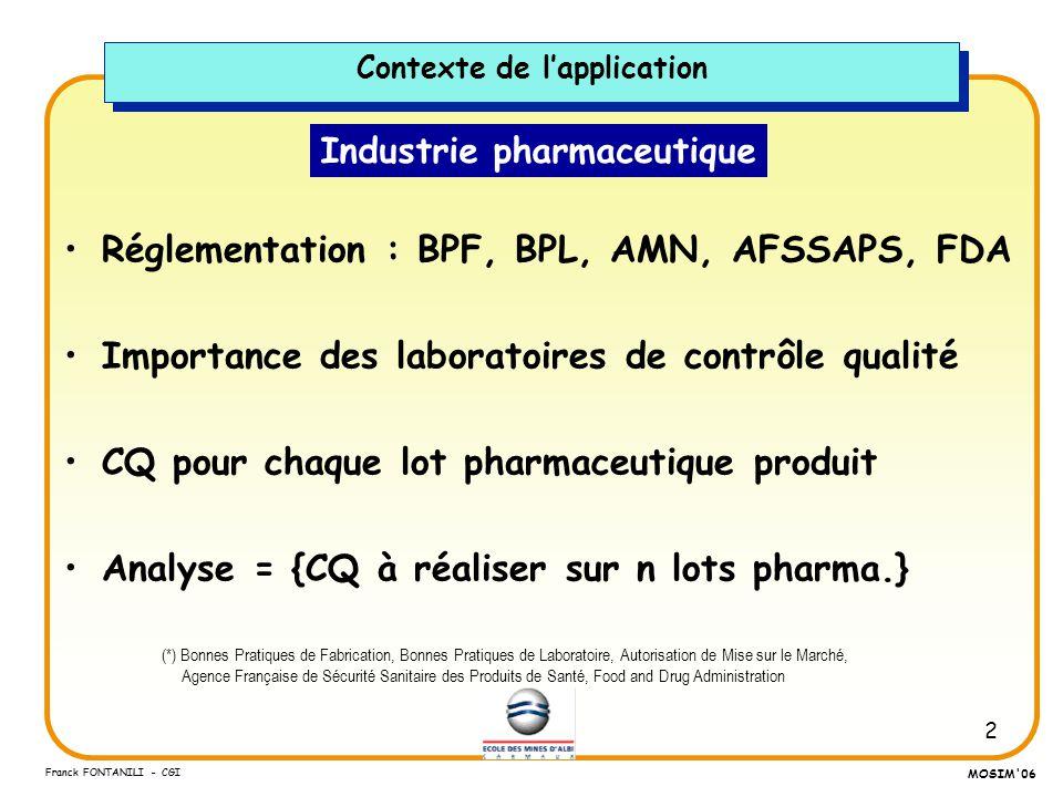 2 Franck FONTANILI - CGI MOSIM'06 Industrie pharmaceutique Réglementation : BPF, BPL, AMN, AFSSAPS, FDA Importance des laboratoires de contrôle qualit