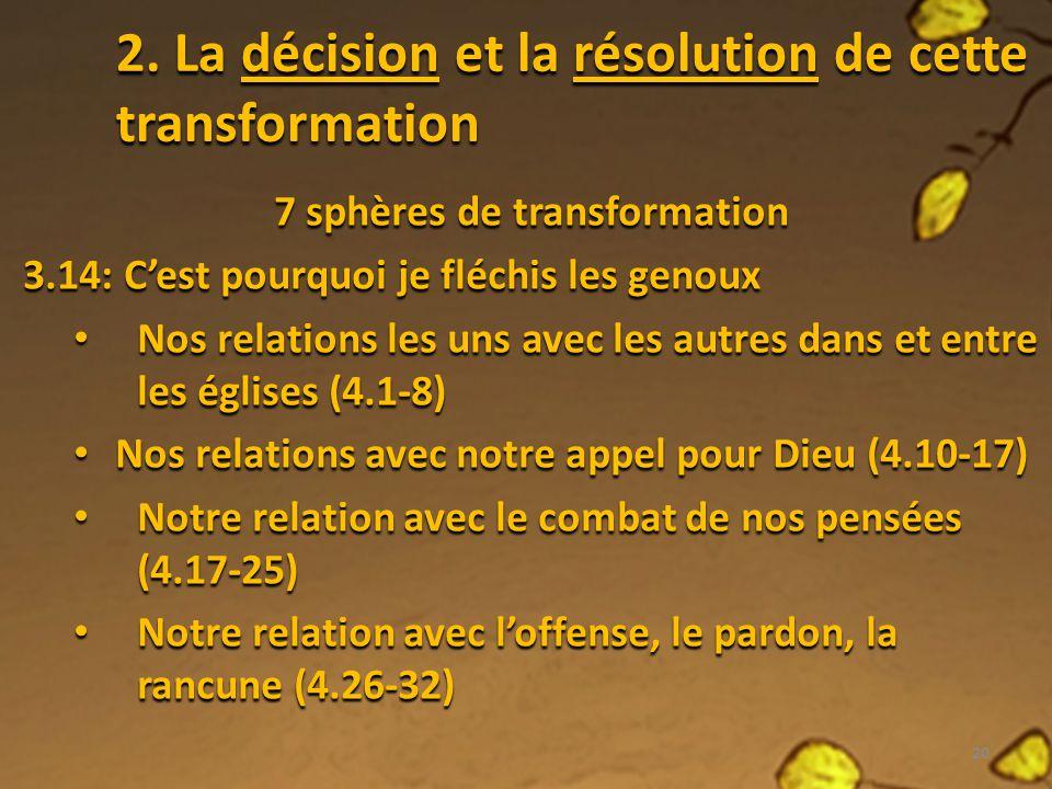 2. La décision et la résolution de cette transformation 7 sphères de transformation 3.14: Cest pourquoi je fléchis les genoux Nos relations les uns av