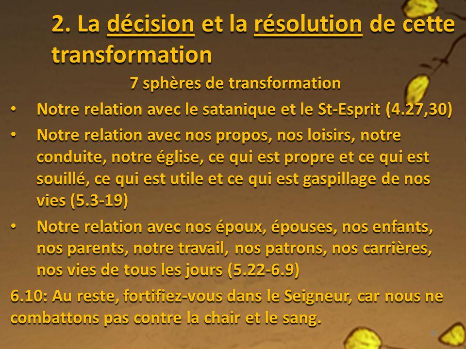 2. La décision et la résolution de cette transformation 7 sphères de transformation Notre relation avec le satanique et le St-Esprit (4.27,30) Notre r