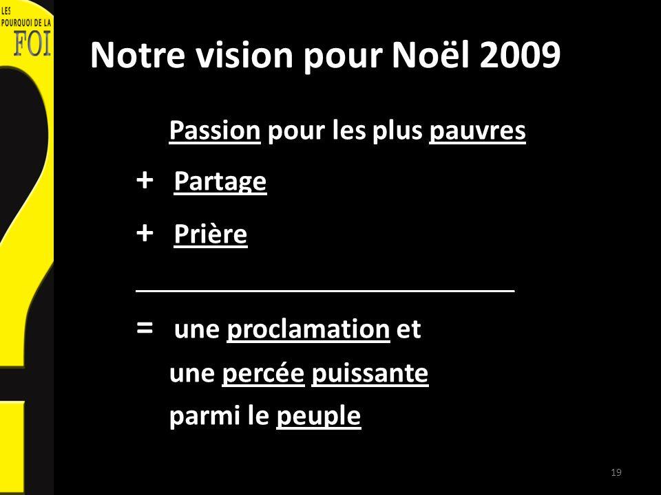 Notre vision pour Noël 2009 Passion pour les plus pauvres + Partage + Prière __________________________ = une proclamation et une percée puissante parmi le peuple 19