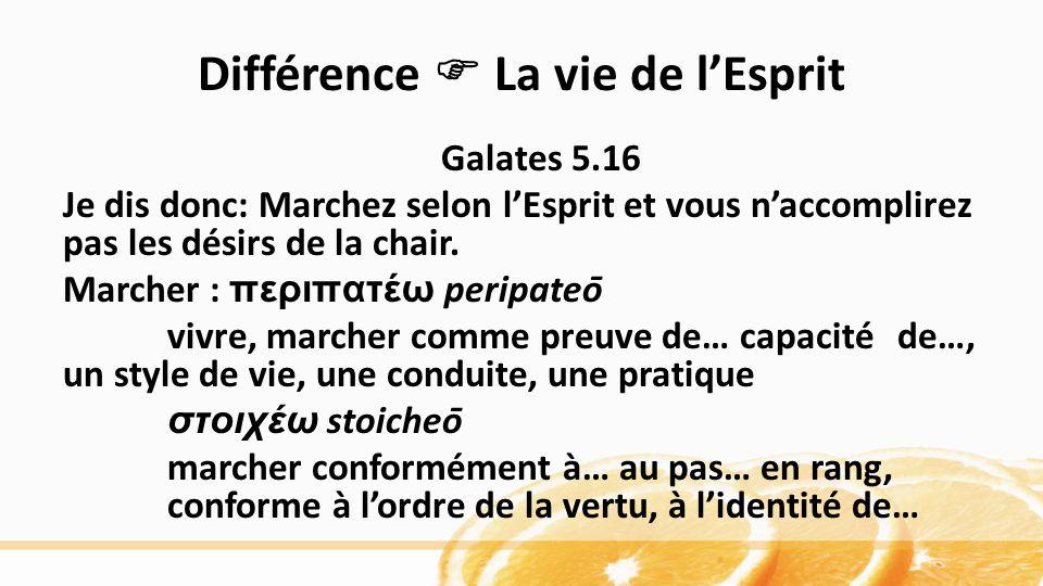 Différence La vie de lEsprit Galates 5.16 Je dis donc: Marchez selon lEsprit et vous naccomplirez pas les désirs de la chair. Marcher : περιπατέω per