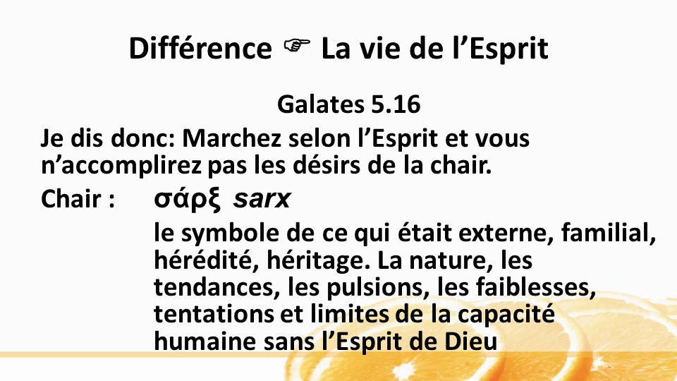Différence La vie de lEsprit Galates 5.16 Je dis donc: Marchez selon lEsprit et vous naccomplirez pas les désirs de la chair. Chair : σάρξ sarx le sy