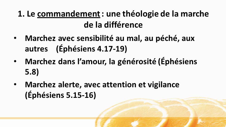 1. Le commandement : une théologie de la marche de la différence Marchez avec sensibilité au mal, au péché, aux autres (Éphésiens 4.17-19) Marchez dan