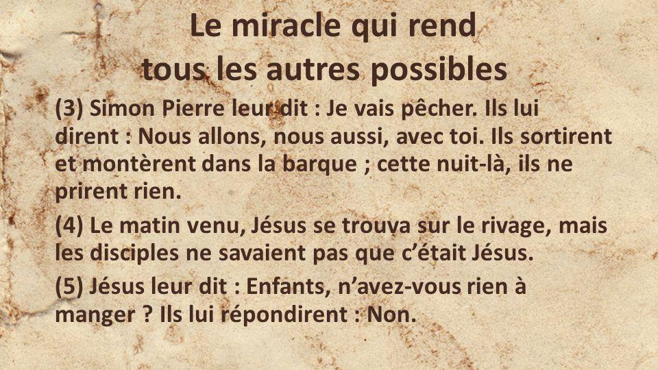 Le miracle qui rend tous les autres possibles (3) Simon Pierre leur dit : Je vais pêcher. Ils lui dirent : Nous allons, nous aussi, avec toi. Ils sort
