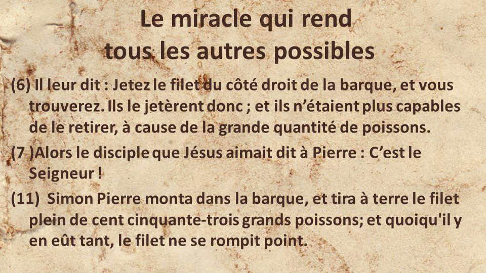 Le miracle qui rend tous les autres possibles (6) Il leur dit : Jetez le filet du côté droit de la barque, et vous trouverez. Ils le jetèrent donc ; e