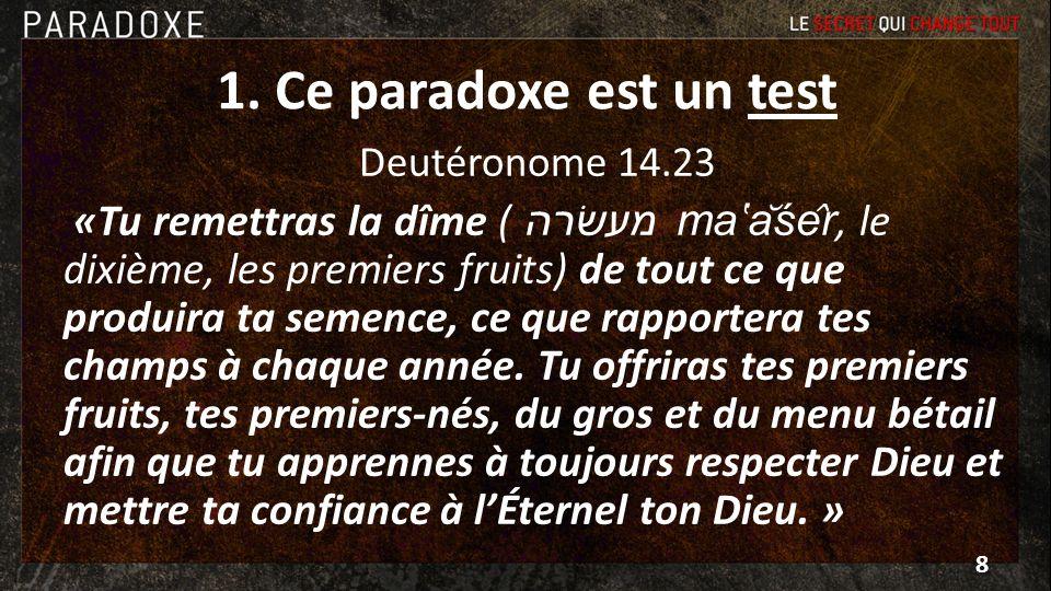 1. Ce paradoxe est un test Deutéronome 14.23 «Tu remettras la dîme ( מעשׂרה maăśêr, le dixième, les premiers fruits) de tout ce que produira ta sem