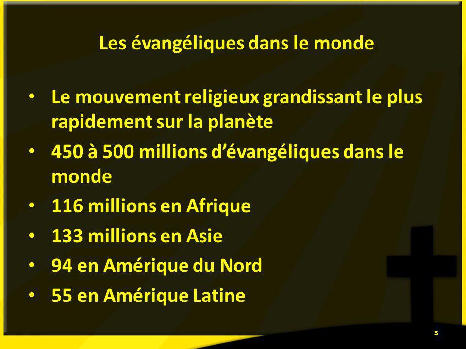 Les évangéliques dans le monde Le mouvement religieux grandissant le plus rapidement sur la planète 450 à 500 millions dévangéliques dans le monde 116 millions en Afrique 133 millions en Asie 94 en Amérique du Nord 55 en Amérique Latine 5