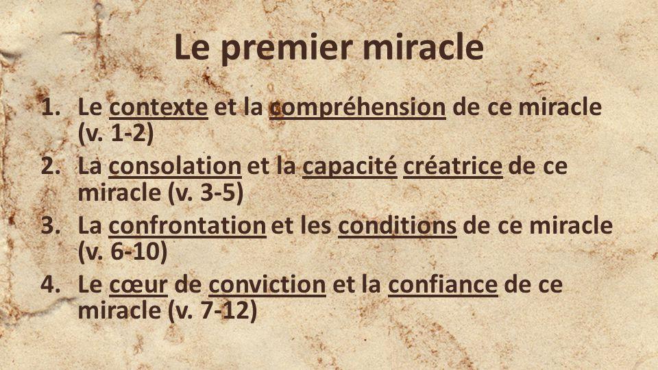 Le premier miracle 1.Le contexte et la compréhension de ce miracle (v.