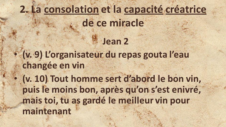 2.La consolation et la capacité créatrice de ce miracle Jean 2 (v.