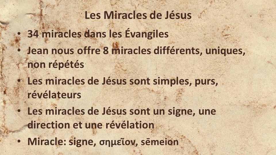 Les Miracles de Jésus 34 miracles dans les Évangiles Jean nous offre 8 miracles différents, uniques, non répétés Les miracles de Jésus sont simples, purs, révélateurs Les miracles de Jésus sont un signe, une direction et une révélation Miracle: signe, σημεῖον, sēmeion