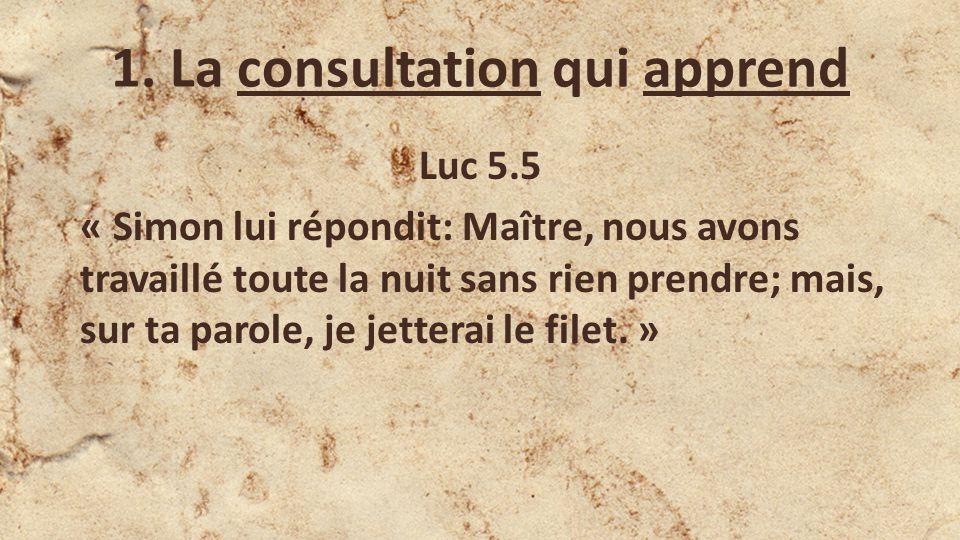 Luc 5.5 « Simon lui répondit: Maître, nous avons travaillé toute la nuit sans rien prendre; mais, sur ta parole, je jetterai le filet.