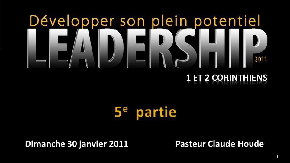 Dimanche 30 janvier 2011Pasteur Claude Houde 1