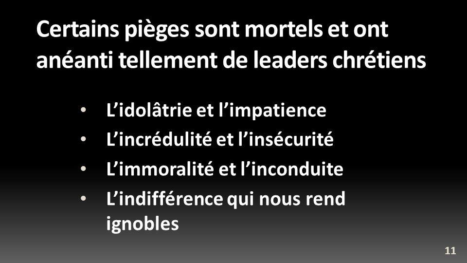 Certains pièges sont mortels et ont anéanti tellement de leaders chrétiens Lidolâtrie et limpatience Lincrédulité et linsécurité Limmoralité et lincon