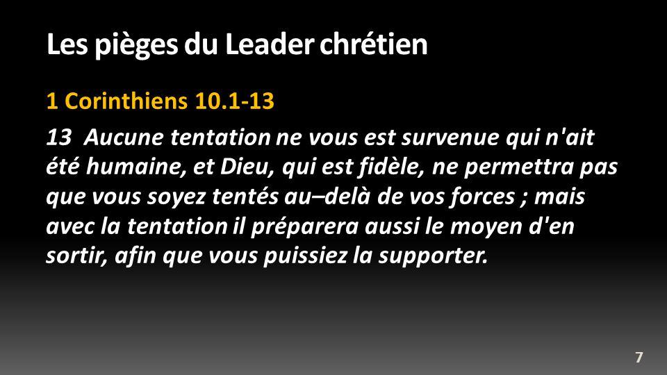 Les pièges du Leader chrétien 1 Corinthiens 10.1-13 13 Aucune tentation ne vous est survenue qui n'ait été humaine, et Dieu, qui est fidèle, ne permet