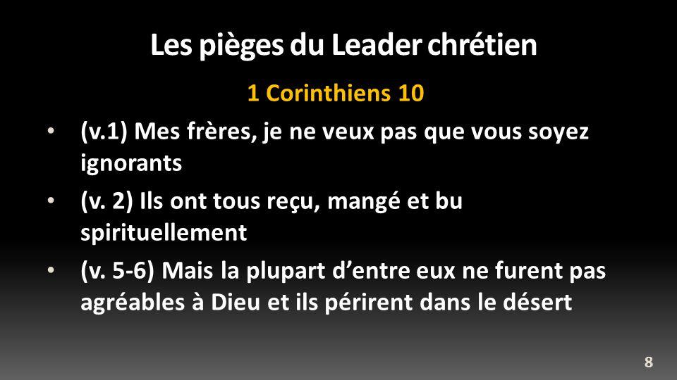 Les pièges du Leader chrétien 1 Corinthiens 10 (v.1) Mes frères, je ne veux pas que vous soyez ignorants (v. 2) Ils ont tous reçu, mangé et bu spiritu