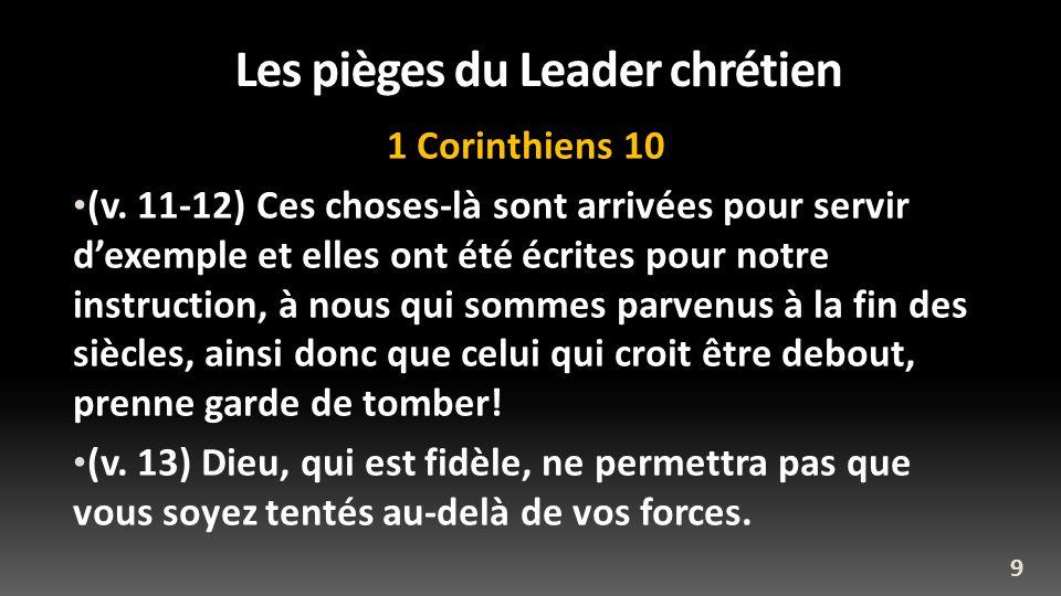 Les pièges du Leader chrétien 1 Corinthiens 10 (v. 11-12) Ces choses-là sont arrivées pour servir dexemple et elles ont été écrites pour notre instruc