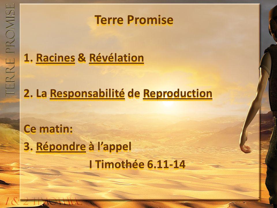Terre Promise 1. Racines & Révélation 2. La Responsabilité de Reproduction Ce matin: 3. Répondre à lappel I Timothée 6.11-14 1. Racines & Révélation 2