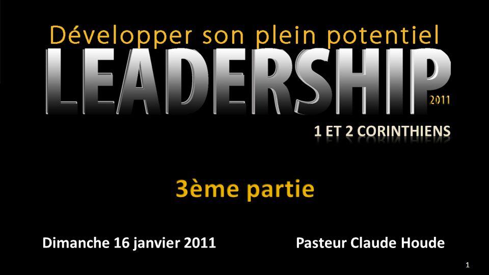 Dimanche 16 janvier 2011Pasteur Claude Houde 1