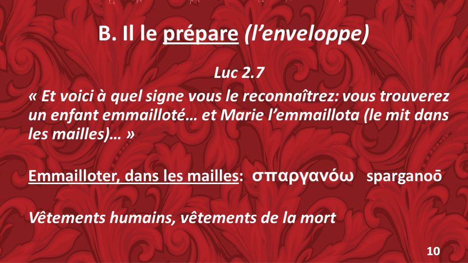 B. Il le prépare (lenveloppe) Luc 2.7 « Et voici à quel signe vous le reconnaîtrez: vous trouverez un enfant emmailloté… et Marie lemmaillota (le mit