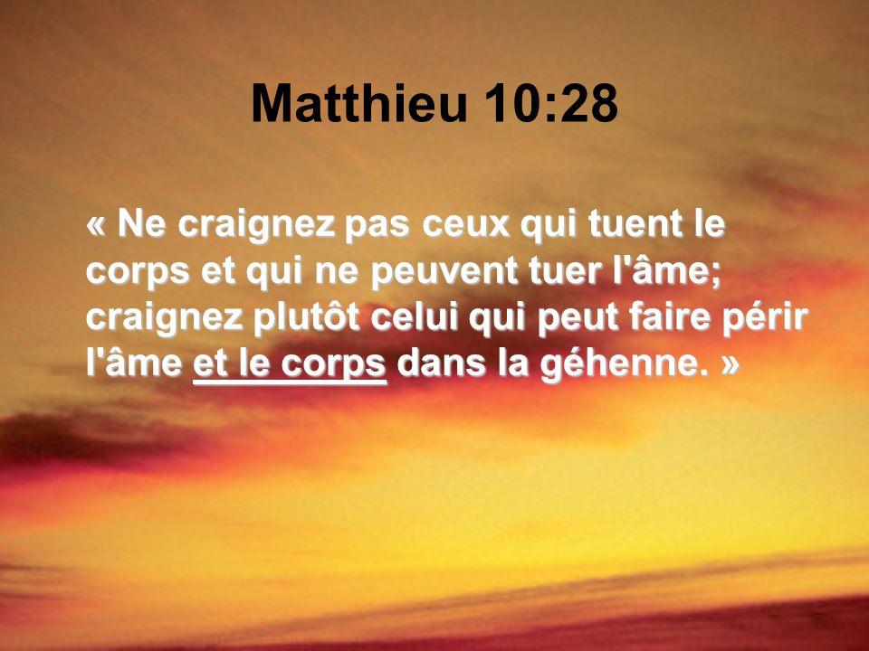 Matthieu 10:28 « Ne craignez pas ceux qui tuent le corps et qui ne peuvent tuer l'âme; craignez plutôt celui qui peut faire périr l'âme et le corps da