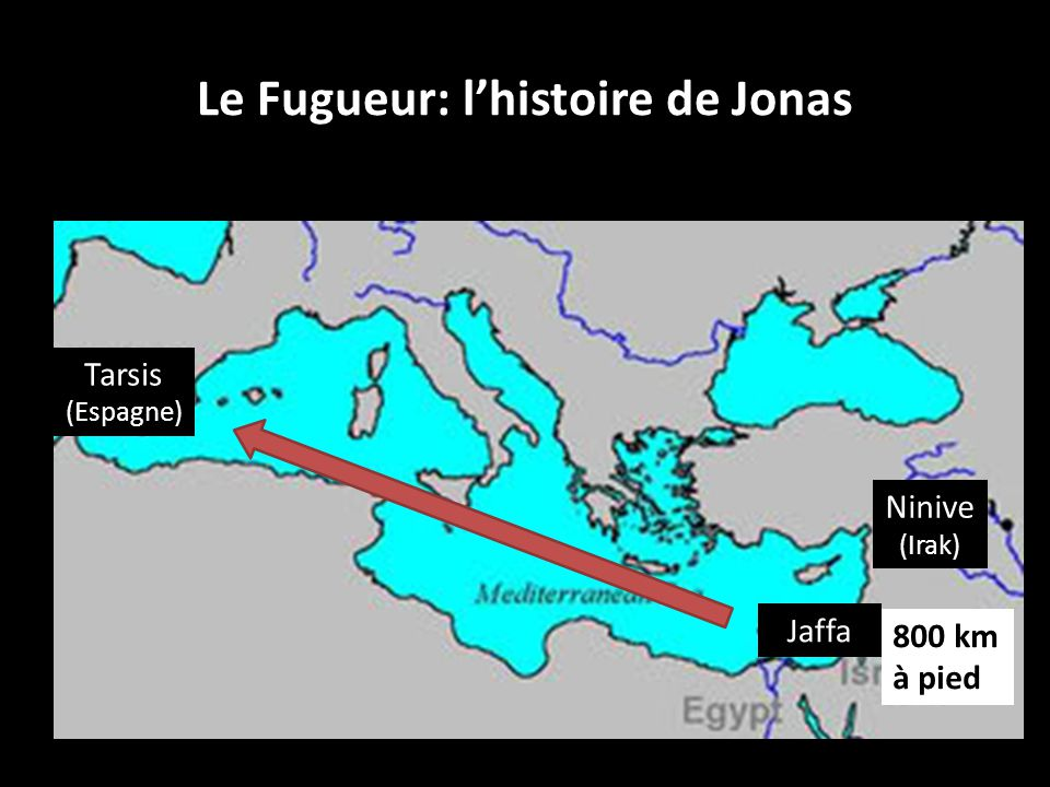 Le Fugueur: lhistoire de Jonas Jaffa Tarsis (Espagne) Ninive (Irak) 800 km à pied