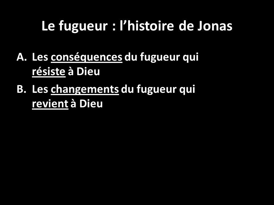 Le fugueur : lhistoire de Jonas A.Les conséquences du fugueur qui résiste à Dieu B.Les changements du fugueur qui revient à Dieu 12