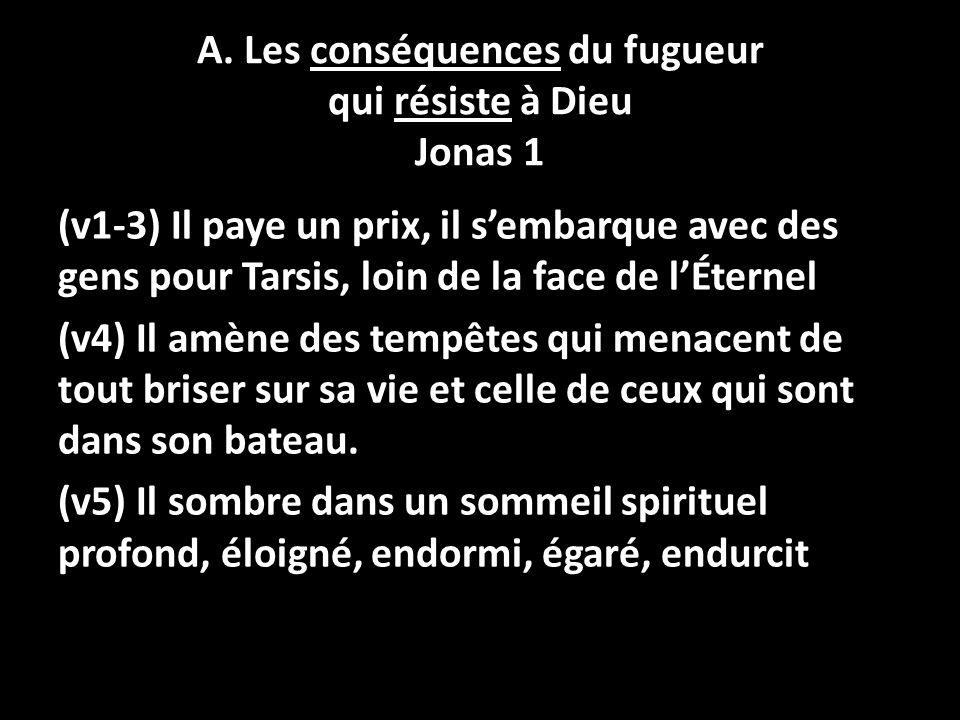 A. Les conséquences du fugueur qui résiste à Dieu Jonas 1 (v1-3) Il paye un prix, il sembarque avec des gens pour Tarsis, loin de la face de lÉternel