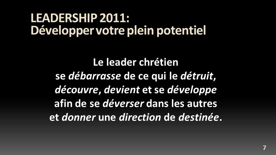 Développer votre plein potentiel LEADERSHIP 2011: Développer votre plein potentiel Le leader chrétien se débarrasse de ce qui le détruit, découvre, devient et se développe afin de se déverser dans les autres et donner une direction de destinée.